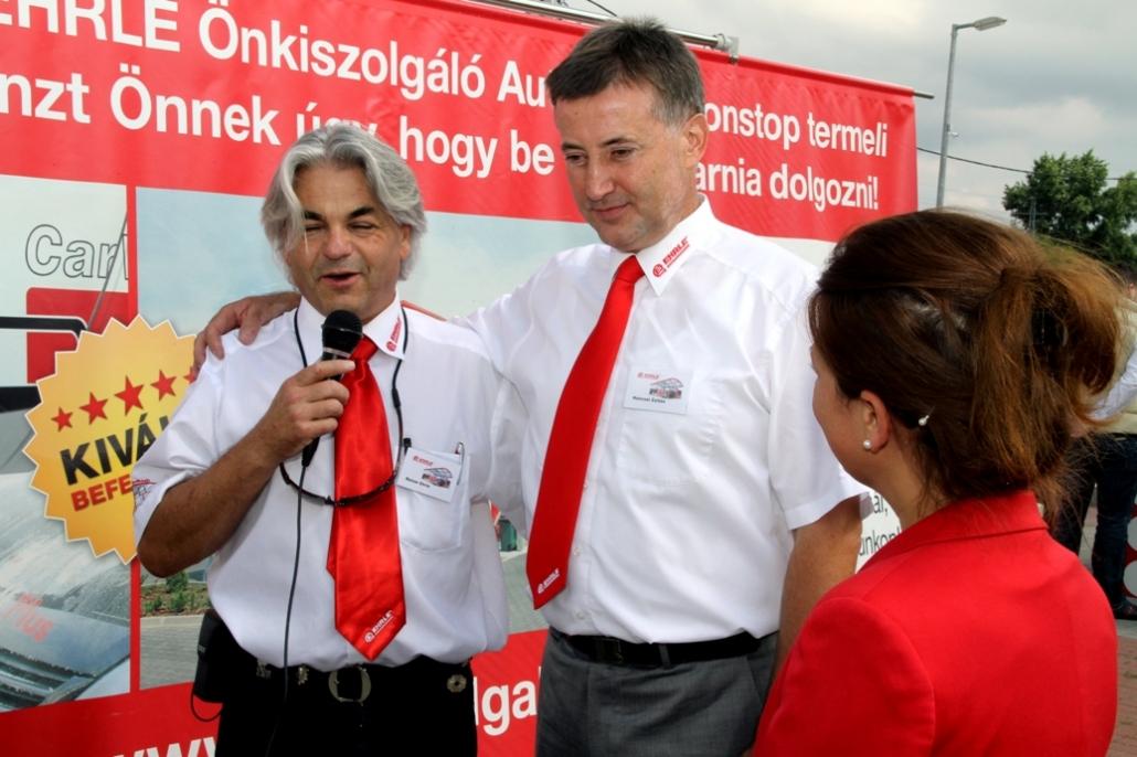 D-nul Reiner Ehrle, proprietarul și CEO-ul EHRLE GmbH, împreună cu d-nul Hencsei Zoltán, proprietarul și CEO-ul partenerului nostru, KVANT KFT- EHRLE Hungária.